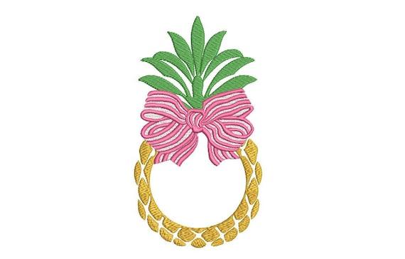 Pineapple Bow Monogram Frame Embroidery - Machine Embroidery Pineapple- Embroidery File design 5x7 hoop - Monogram