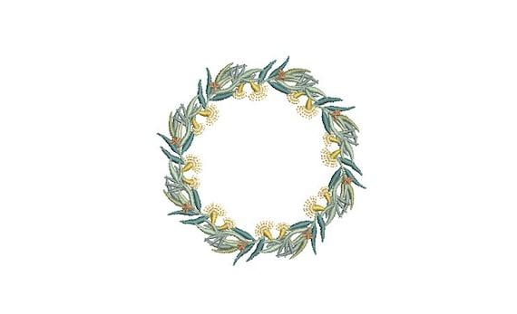 Eucalyptus Flower Wreath- Machine Embroidery File design - 4x4 inch hoop - monogram Frame - Instant download
