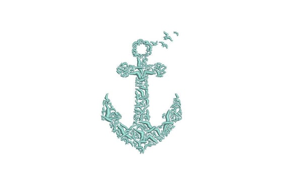 Seagull Anchor Machine Embroidery File design 4x4 inch hoop - Monogram