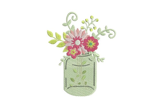 Machine Embroidery Flowers in Mason Jar Vase Arrangement Machine Embroidery File design 5x7 inch hoop