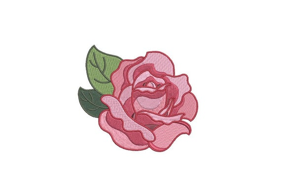 Rose Machine Embroidery - File design 4 x 4 inch hoop - Instant Download -Makes a great patch