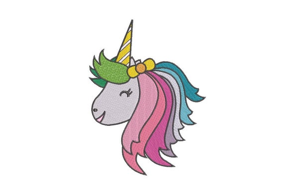 Rainbow Unicorn Head Embroidery design - Machine Embroidery File design - 5x7 inch hoop - Instant download