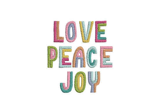 Love Peace Joy Machine Embroidery File design - 4x4 inch hoop  -instant download - Embroidery Design
