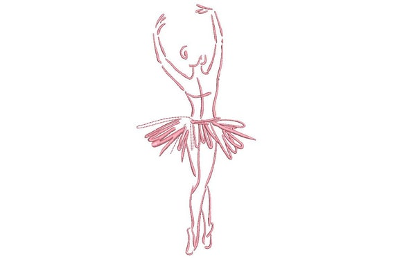 Ballerina Ballet Dancer Sketch Machine Embroidery File design 5x7 hoop - one colour