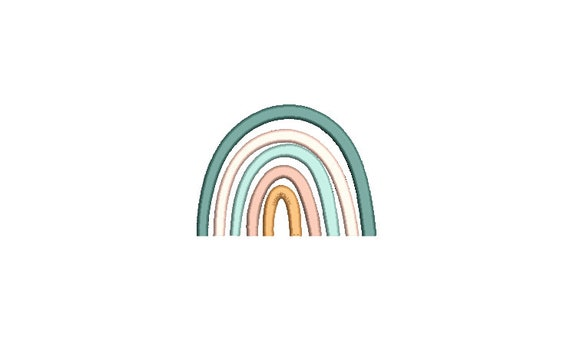 Boho  Rainbow - Machine Embroidery File design - 4x4 inch hoop - Monogram Frame - Satin Stitch Rainbow Embroidery Design