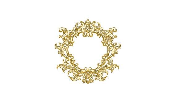 Monogram Frame Machine Embroidery File design 4x4 inch hoop Baroque Rectangle Frame