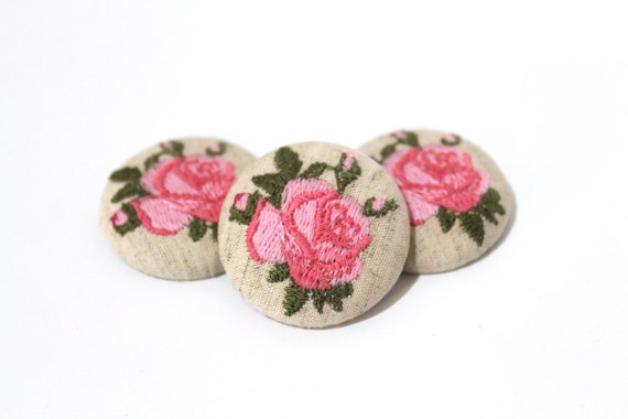 Rose Button Covers ITH Machine Embroidery File design 5x7 inch hoop - instant download