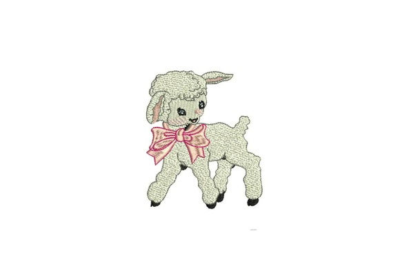 Lamb Embroidery - Machine Embroidery Vintage Little Lamb Pink Bow Machine Embroidery File design 4 x 4 inch hoop