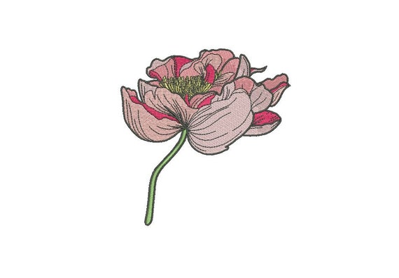 Peony Flower Stem Machine Embroidery File design 5 x 7 inch hoop