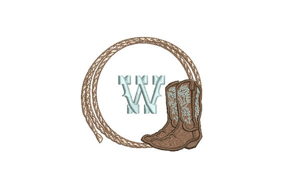 Cowboy Rope and Boots Machine Embroidery File design - 4x4 inch hoop - Monogram Frame