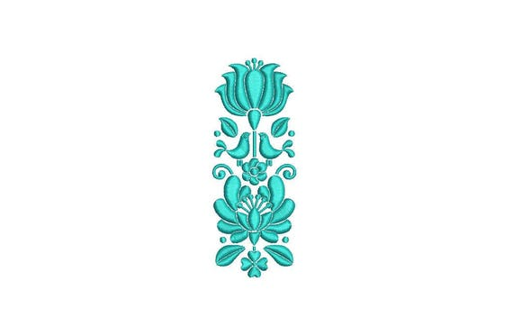 Folksy Floral Motif Machine Embroidery File design 4 x 4 inch hoop - Flower Embroidery