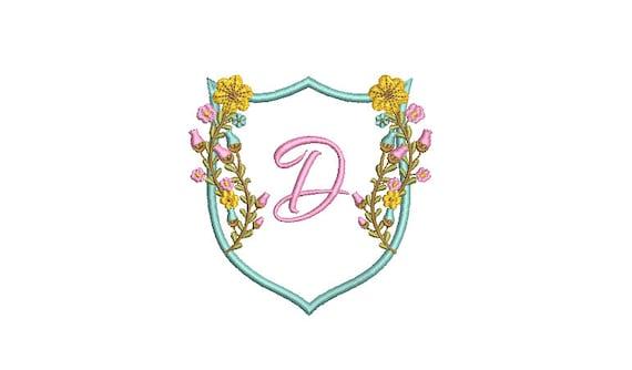 Pretty Flower Crest Machine Embroidery File design 4x4 inch hoop - Monogram Frame - Floral Crest