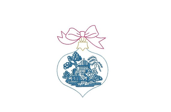 Blue Willow Bow Ornament - Machine Embroidery File design - 4x4 inch hoop - Chinoiserie Chic