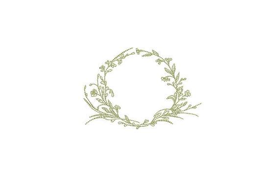 Simple Vine Wreath Wreath- Machine Embroidery File design - 4x4 inch hoop - monogram Frame - Instant download