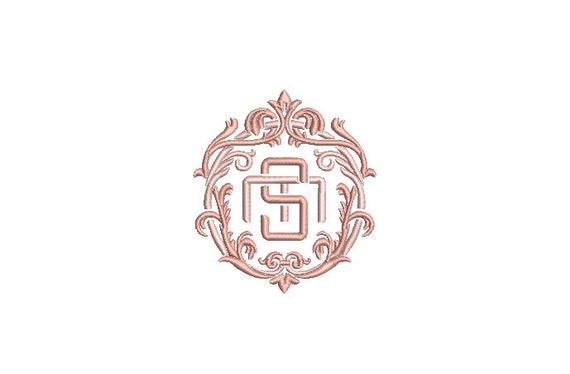 S M Flourish Monogram Crest -  Machine Embroidery File design - 4x4 inch hoop - Vintage Monogram