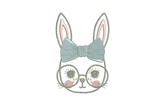 Machine Embroidery - Bunny with Glasses & Bow Outline - Embroidery File design - 5x7 inch hoop