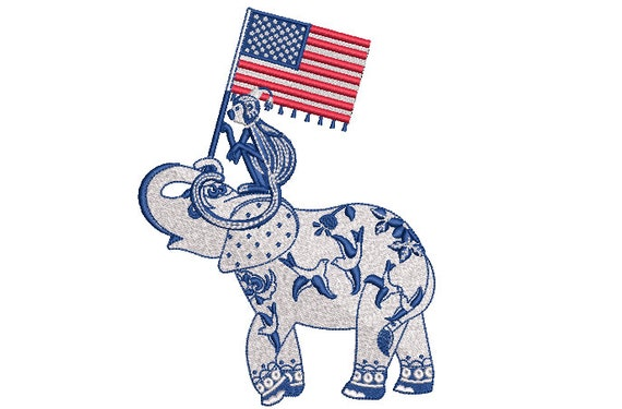 Chinoiserie Elephant Monkey USA Flag Machine Embroidery File design 5x7 hoop - 4th of July Embroidery Design - instant download