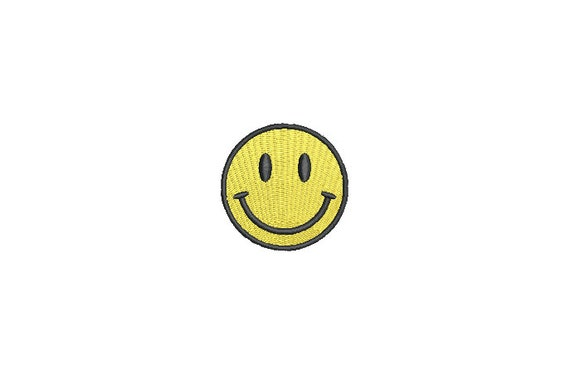 Smiley Embroidery Design - Mini 5cm Embroidery File design - 4x4 hoop