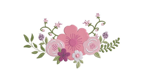 Lilac Floral Embroidery -  Wreath Machine Embroidery File design - 5x7 inch hoop - instant download