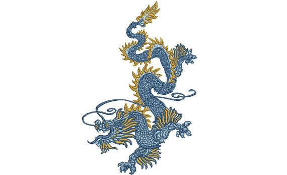 Chinoiserie Dragon Embroidery Design -  Urban Modern Machine Embroidery File design - 5x7 inch hoop - instant download