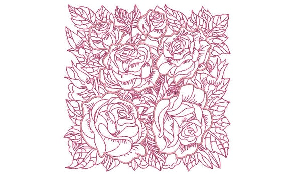 Rose Quilting Block Embroidery - Machine Embroidery File - design 8x8 inch hoop - Redwork and Satin Stitch Embroidery Design