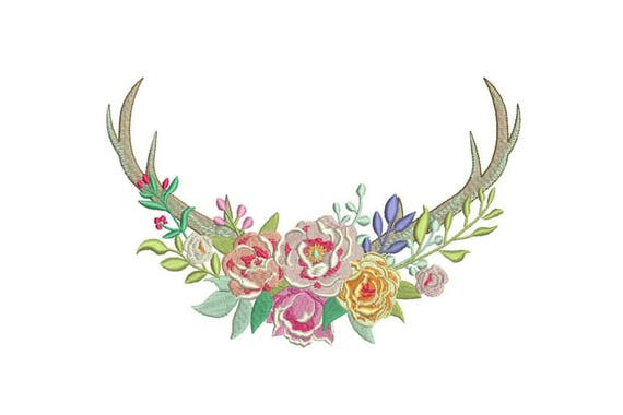 Multicolour Flower Stag Antlers Boho Machine Embroidery File design 8x12 inch hoop Flower Antlers
