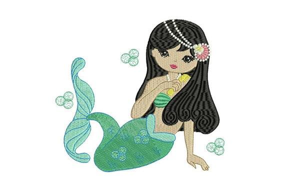 Mermaid Machine Embroidery File design - 7x12 inch or 18x30cm hoop mermaid in the hoop embroidery - instant download
