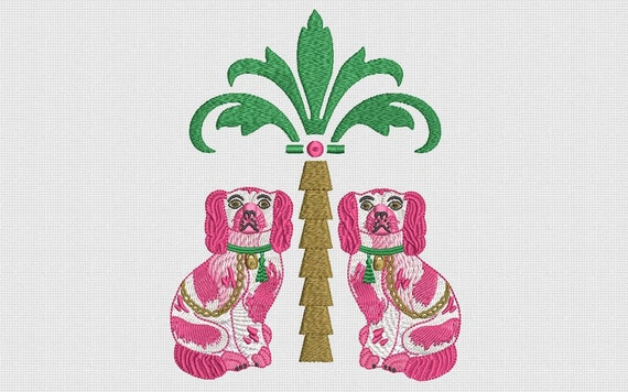 Staffordshire  Spaniel Pups and Palm Tree Embroidery File design - 5 x 7 inch hoop - Palm Silhouette -  Brother Embroidery