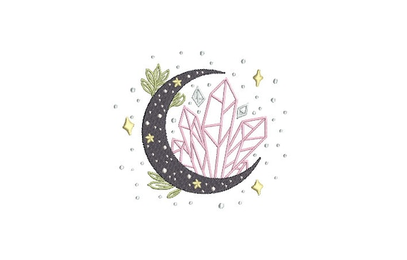 Crystal Moon Embroidery Design -  Moon Child Machine Embroidery File design - 4x4 inch hoop - instant download