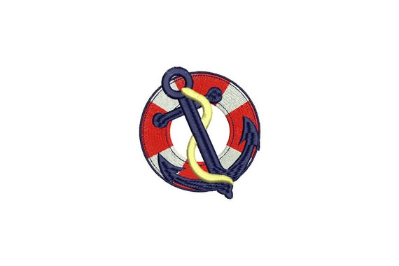 Whimsical Small Anchor & Buoy Nautical Machine Embroidery File design 4x4 inch hoop