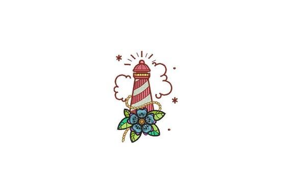 Lighthouse Tattoo Nautical Machine Embroidery File design 4x4 inch hoop - Retro