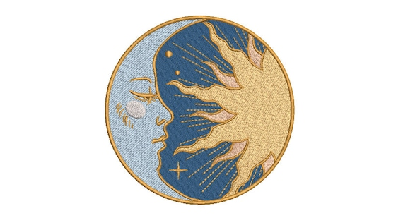 Sun and Moon Machine Embroidery File design 5 x 7 inch hoop - instant download = Celestial Embroidery Design