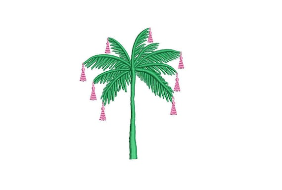 Tassel Palm Tree - Machine Embroidery File design - 4 x 4 inch hoop - Chinoiserie Chic