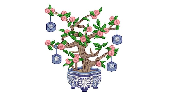 Chinoiserie Peach Tree - Machine Embroidery File design - 5 x 7 inch hoop - Instant Download