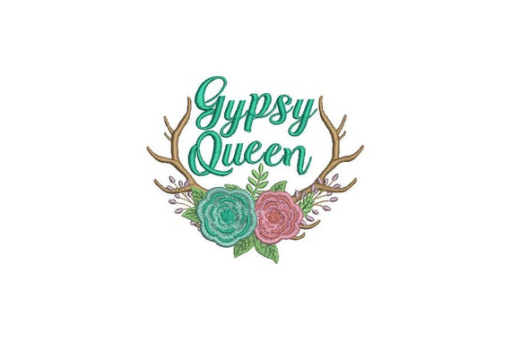 Boho Gypsy Queen Antlers Machine Embroidery File design 5x7 hoop - instant download