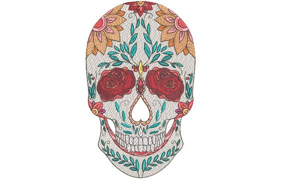 Machine Embroidery Mexican Sugar Skull Bohemian Machine Embroidery File design - 8x12 hoop - Day Of The Dead