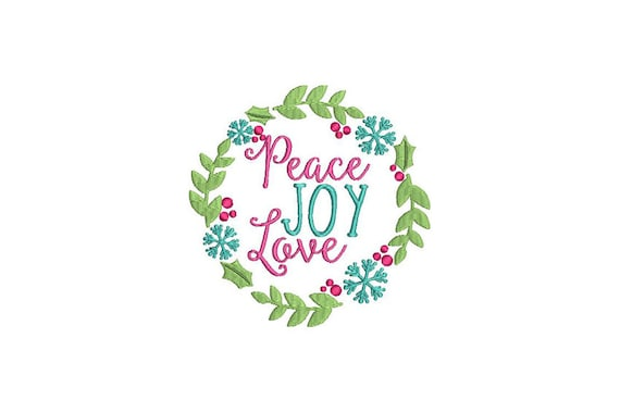 Peace Joy Love Christmas Flower Wreath Machine Embroidery File design 5x7 inch hoop Instant download