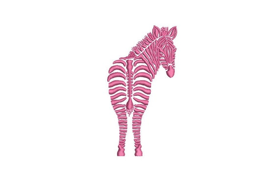 Pink Zebra Behind Machine Embroidery File design 4x4 inch hoop - Chinoiserie