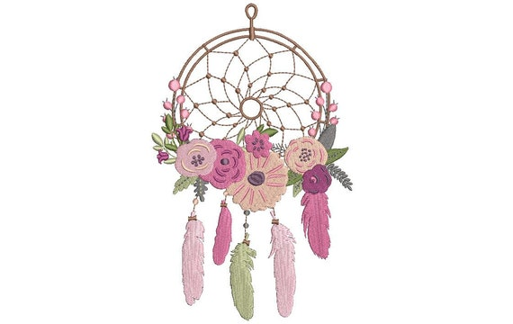 Pink Boho Dreamcatcher Embroidery -  Wreath Machine Embroidery File design - 5x7 inch hoop - instant download