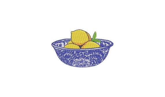Blue and White Bowl with Lemons - Machine Embroidery File design - 4 x 4 inch hoop -  embroidery design - embroidery patch