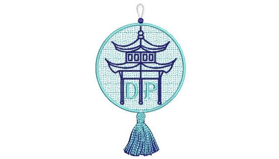 Pagoda Ornament Embroidery Design - Chinoiserie Christmas Design - 5 x 7 inch hoop - instant download