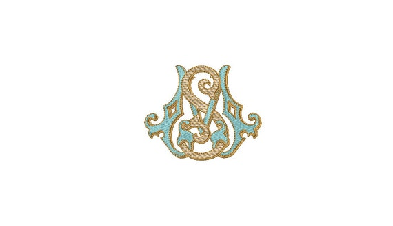 Antique S M Monogram -  Machine Embroidery File design - 4x4 inch hoop - Vintage Monogram