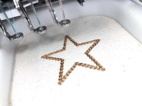 Chain Stitch Star - 5cm - Machine Embroidery File design - 4x4 inch hoop - Monogram Frame