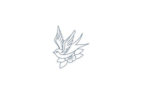 Retro Swallow Bird Tattoo Linework Machine Embroidery File design 4 x 4 inch hoop - Redwork