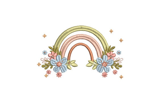 Little Flower Rainbow  - Machine Embroidery File design - 5x7 inch hoop - Monogram Frame - Flowers Rainbow Embroidery Design