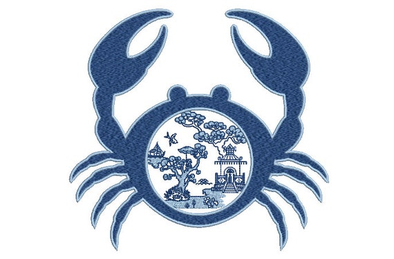 Blue Willow Chinoiserie Crab - Machine Embroidery File design -  8x8 inch hoop - Chinoiserie Embroidery
