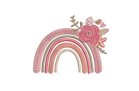 Floral Rainbow - Machine Embroidery File design - 4x4 inch hoop - Monogram Frame - Rainbow Embroidery Design