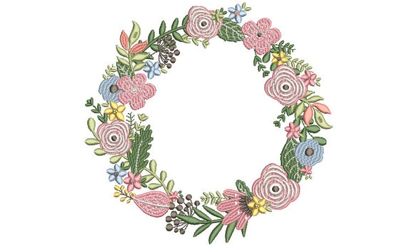 Pretty Flower Wreath Embroidery - Machine Embroidery File - design 8x8 inch hoop - Monogram frame