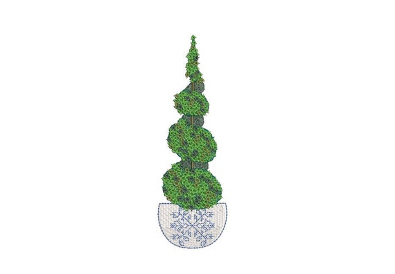 Chinoiserie Boxwood Twirl Tree Embroidery  - Machine Embroidery File design - 5 x 7 inch hoop - Instant Download