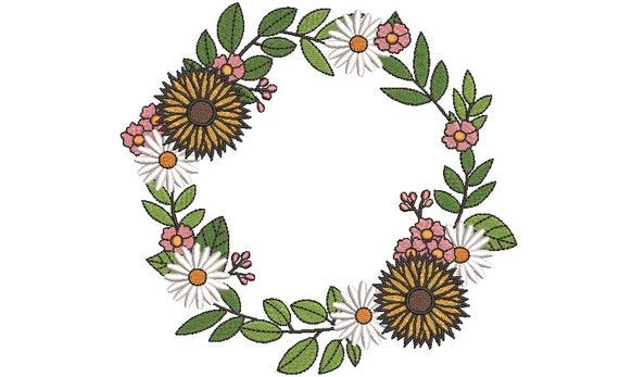 Sunflower Wreath Embroidery - Machine Embroidery File - design 8x8 inch hoop - Monogram frame - Sunflower - Daisy Embroidery